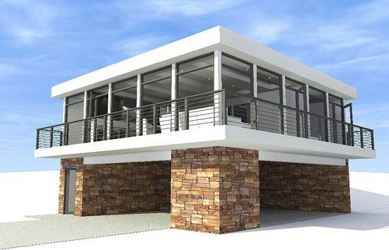 Casa sobre pilotes for Como hacer una fachada de casa moderna