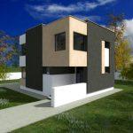 Diseño de fachada moderna para casa de dos plantas