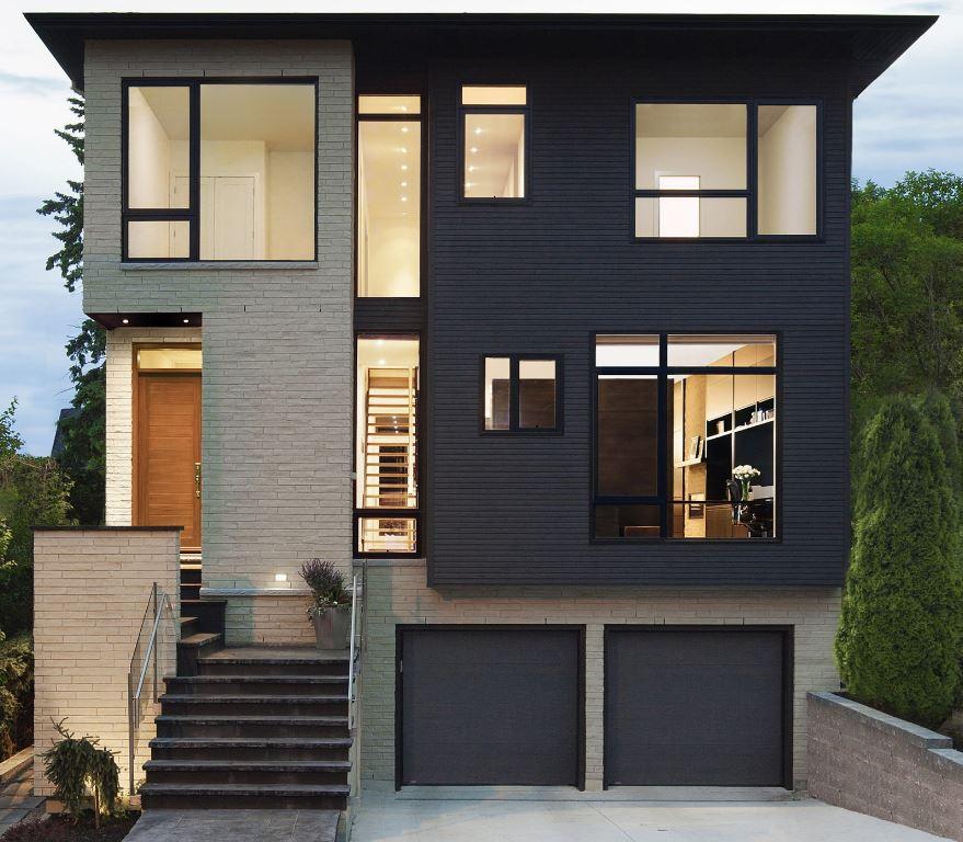 5 fachadas de casas modernas en gris y negro for Casas modernas pintadas