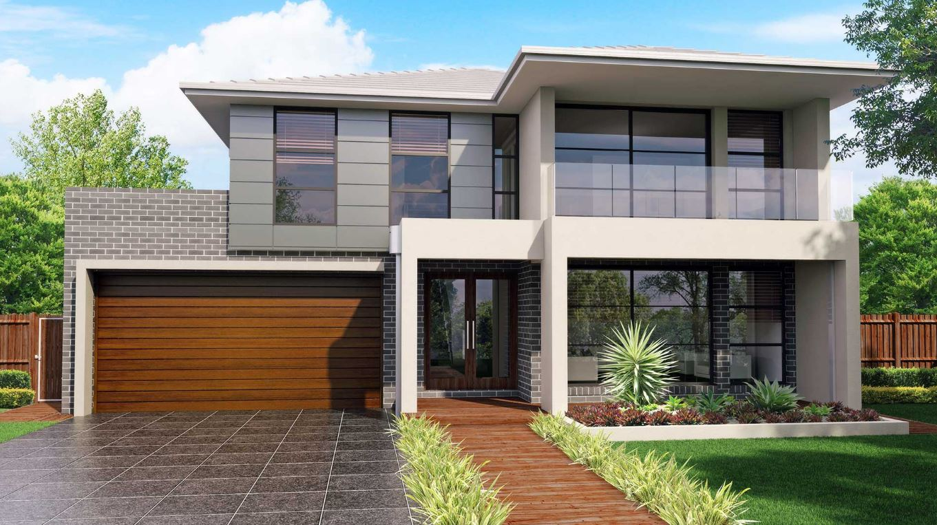 15 fachadas de casas con ladrillos grises for Fachadas de casas rojas modernas