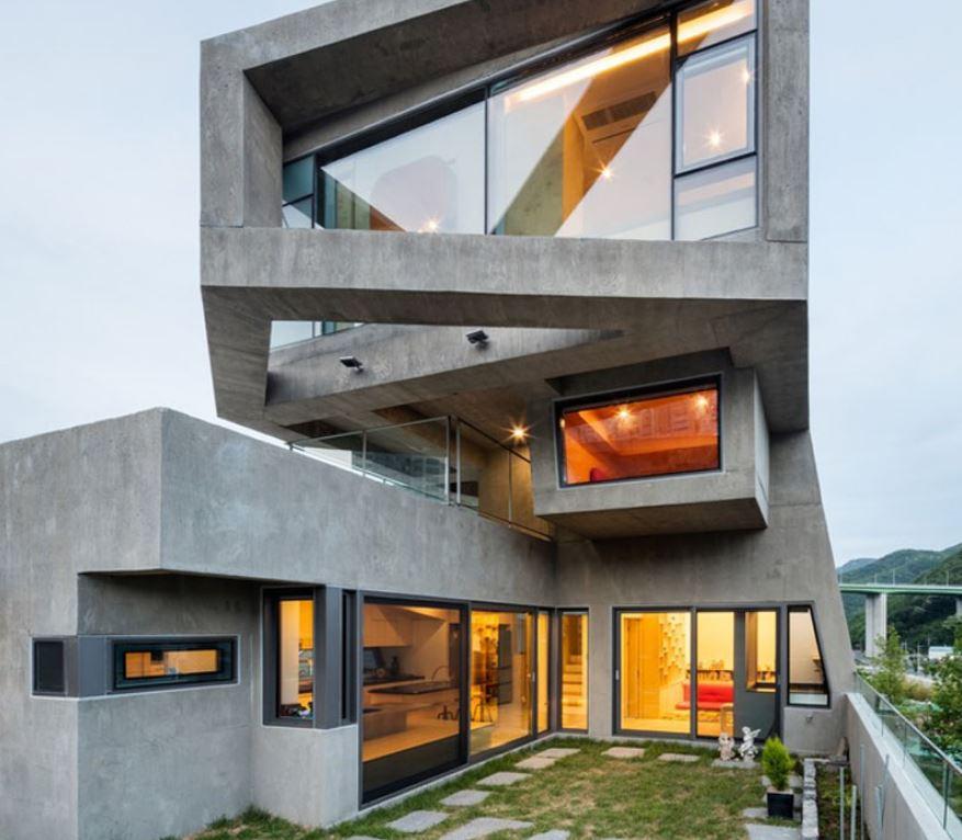 Fachada de concreto for Casas de cemento