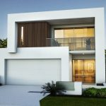 Fachadas de casas blancas de dos pisos